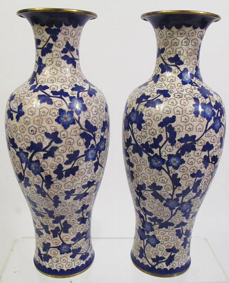 PAIR OF CHINESE CLOISONNE VASES.  11 1/2