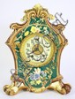 MAJOLICA CERAMIC GILBERT MANTLE CLOCK. Polychrome