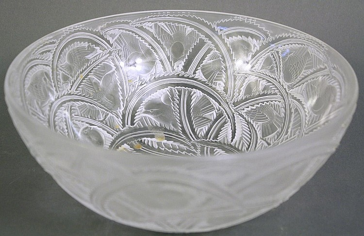 LALIQUE FROSTED GLASS BOWL. Signed Lalique France,