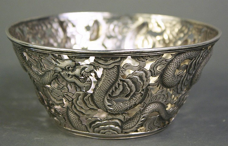 FINE CHINESE EXPORT RETICULATED SILVER BOWL.
