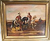 19TH CENTURY MIDDLE EASTERN HUNTERS.  Oil on canvas laid down on masonite. Possi