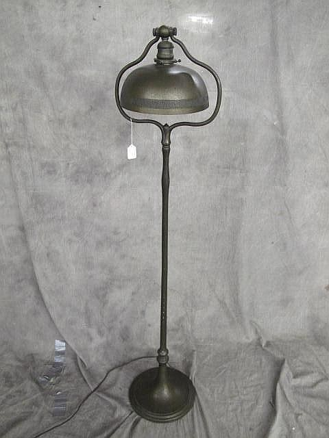 TIFFANY STUDIOS ALL BRONZE FLOOR LAMP. #678. Tiffany Studios, New York. Harp