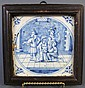 FRAMED EARLY DELFT TILE.  5