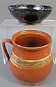TWO PIECES OF REDWARE POTTERY. Greenstripe pot