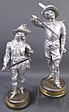 TWO SPELTER STATUES. Including Don Juan and Don