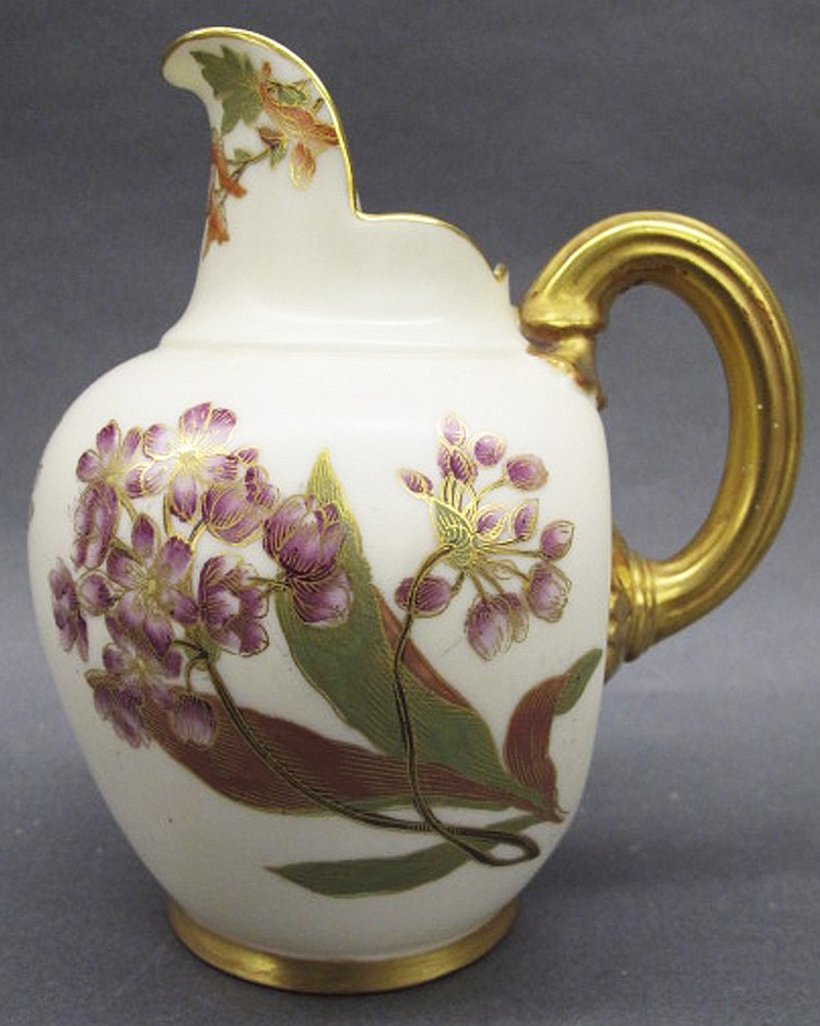 ROYAL WORCESTER CREAM JUG. #1094. Floral painted