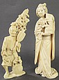 JAPANESE IVORY ALLEGORICAL FIGURE. A street
