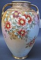 NORITAKE PORCELAIN FLORAL VASE. With heavy raised