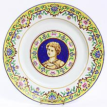 F. PAUL FAIENCE DECORATIVE CHARGER/WALL PLAQUE.