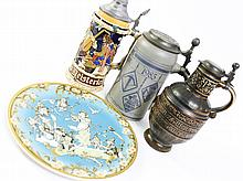 ASSORTED THREE STEINS. Late 20th century. With