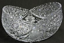 AMERICAN BRILLIANT CUT GLASS OVAL BOWL. With daisy