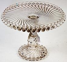 VICTORIAN PRESSED PATTERN GLASS PEDESTAL CAKE