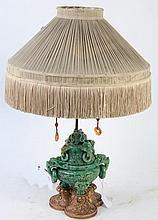 CHINESE GREEN MOTTLED JADEITE KORO FORM TABLE