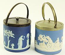 TWO BLUE JASPERWARE BISCUIT JARS. One is Wedgwood