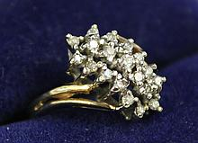 14K GOLD CLUSTER RING WITH 19 INDIVIDUALLY SET