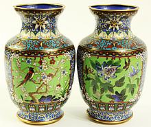 PAIR OF CHINESE CLOISONNE VASES. With bird and