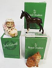 THREE ROYAL DOULTON FIGURINES. Including Beswick