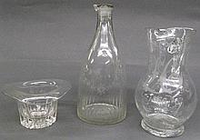 THREE EARLY BLOWN OBJECTS. Including pitcher