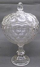 FLINT GLASS LIDDED COMPOTE. Honeycomb pattern.