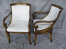 PAIR OF SCROLL ARM OCCASIONAL CHAIRS. With curved