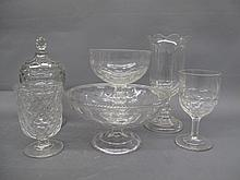 FIVE HONEYCOMB TABLE GLASS OBJECTS. Including a
