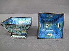 PAIR OF CHINESE ENAMEL ON BLUE DECORATIVE SQUARE