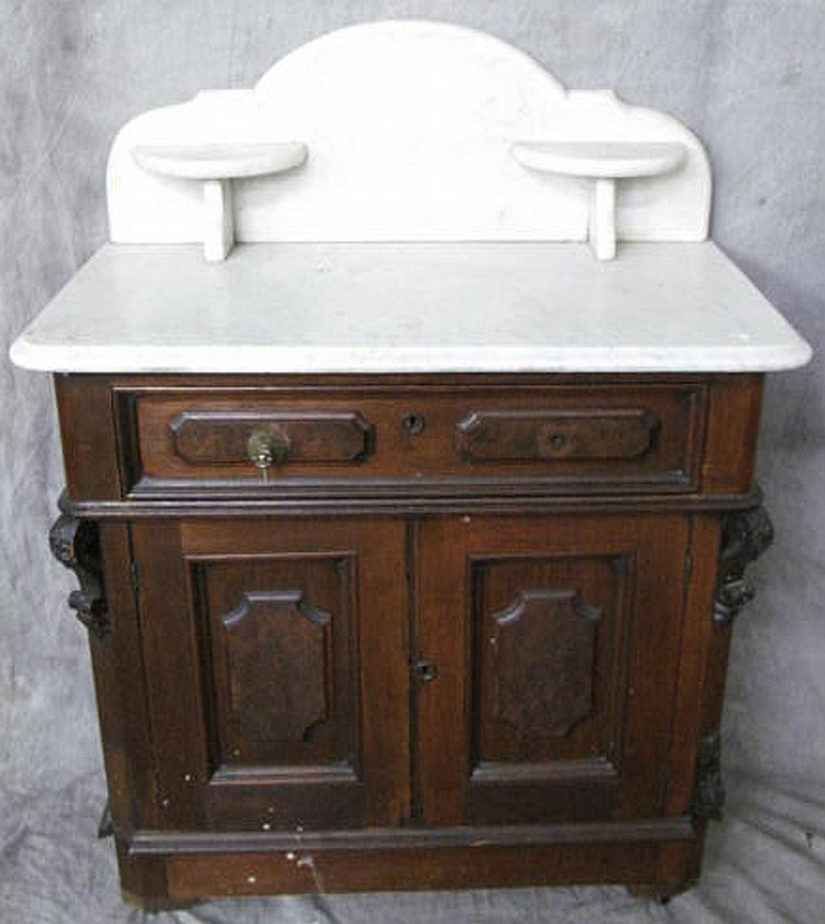 VICTORIAN WALNUT MARBLE TOP WASHSTAND. With