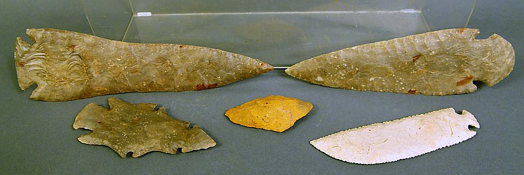 FIVE INTERESTING FLINT SPEAR POINTS. Including