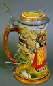 GERMAN POLYCHROME ETCHED POTTERY STEIN. With two