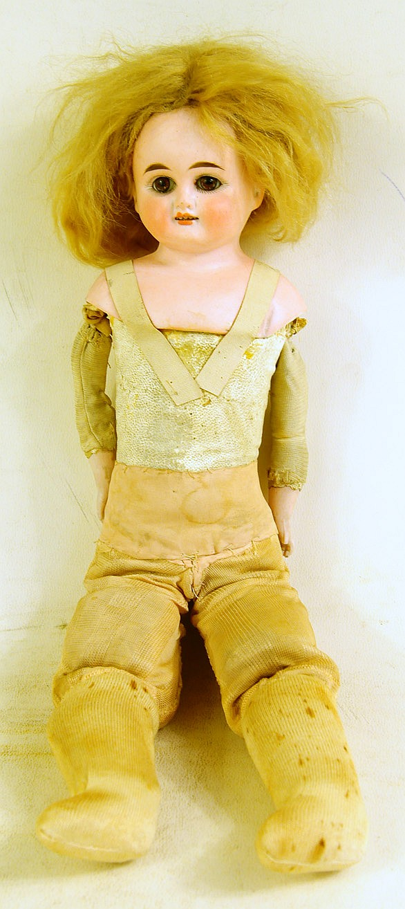 GERMAN BISQUE DOLL.   With jointed body.  15