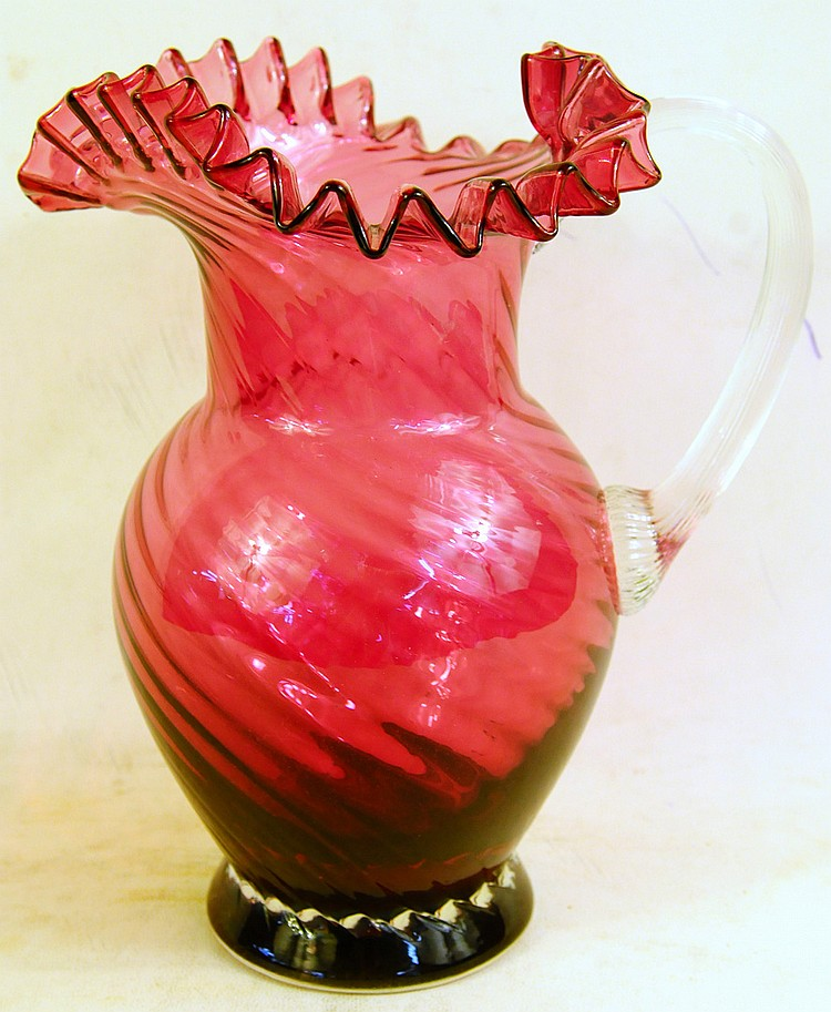 PILGRIM SWIRL CRANBERRY GLASS PITCHER.