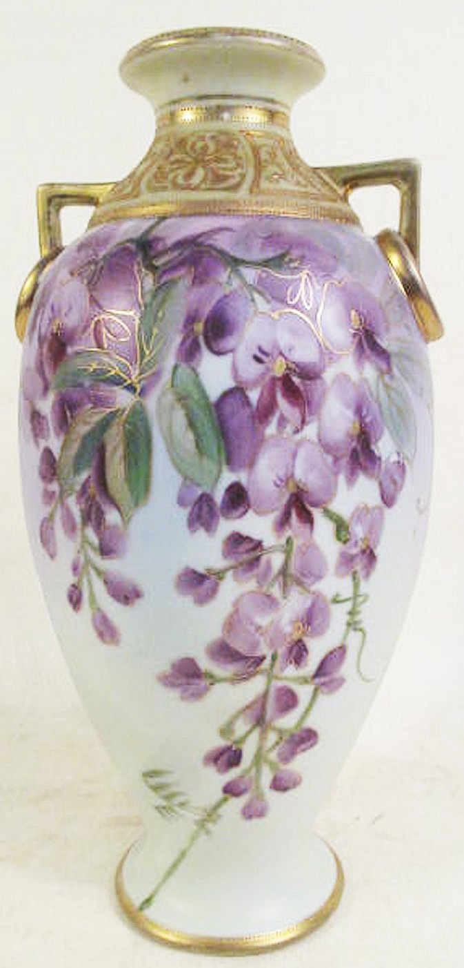NIPPON HAND PAINTED PORCELAIN VASE. With handles