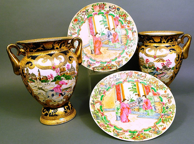 TWO CHINESE STYLE PORCELAIN VASES. Together with