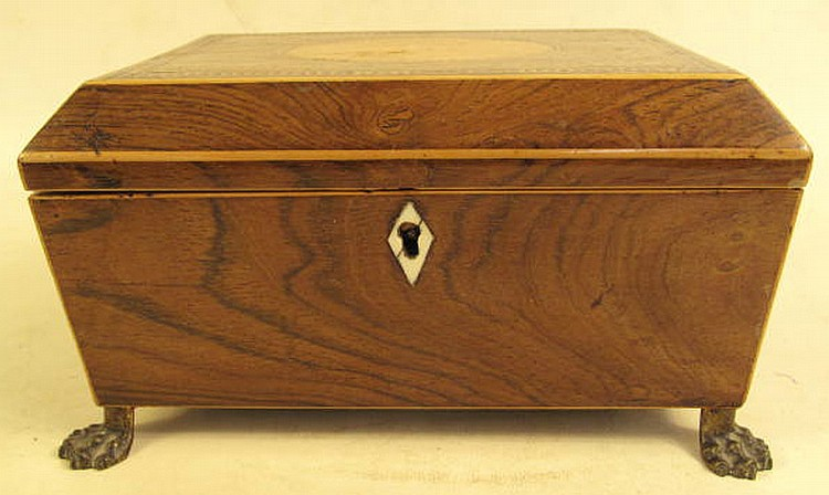 ENGLISH REGENCY ROSEWOOD INLAID DESK BOX. Brass