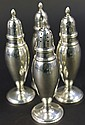 STERLING SILVER SALT & PEPPER SHAKERS. 6 1/4