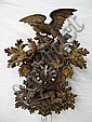 IMPRESSIVE LARGE GERMAN BLACK FOREST CARVED CUCKOO CLOCK.  With large crest withbird, deer, hunting dog and leaves.