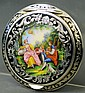 FINE AUSTRIAN STERLING SILVER AND ENAMEL COMPACT.