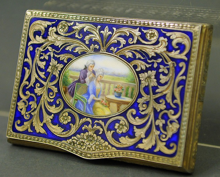 A GOOD CONTINENTAL SILVER AND ENGRAVED ENAMEL