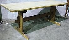 PINE TRESTLE BASE AN TOP FARM TABLE.  The 1 1/8