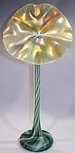 LUNDBERG STUDIOS JACK IN THE PULPIT VASE.  Green stem and base with magnificent