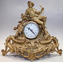 BRASS FIGURAL MANTLE CLOCK.  Beautifully executed casting, quartz movement.  Ma