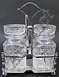 FINE DOUBLE CUT GLASS CONDIMENT JARS. With lids