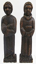 PAIR OF CARVED WOOD ECCLESIASTICAL (CHURCH) FIGURES.  14