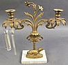 VICTORIAN DOG FIGURE GIRONDLE CANDLEABRA.  Ca. 1850.  Bronze and marble with pri sm border.  (Note:  not all attached).  13 1/2