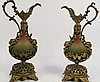 PAIR OF MASK LIP EWERS/MANTLE GARNITURES.  Of cast white metal with varied bronz e patinas.  Ca. 1900.  16