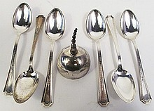 SIX STERLING SILVER TEASPOONS AND A DINNER BELL.  Approx. 6.30 oz. troy.