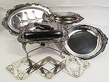 FIVE ELEGANT SILVERPLATE TABLE SERVICE PIECES.  Including covered entree on stan d, other trays and folding trivet.