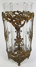 METAL MOUNTED POLISHED VASE.  Ribbed cylinder with gilt cut openwork bronze.     7