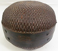 OLD CHINESE MELON SHAPED BASKET.  Halves are connected with iron rings and woode n collars with iron pegs and painted with chrysanthemums.  12