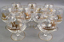 11 GILT DECOR BRANDY SNIFTERS.  Mounted hunter, dogs and fox.  6